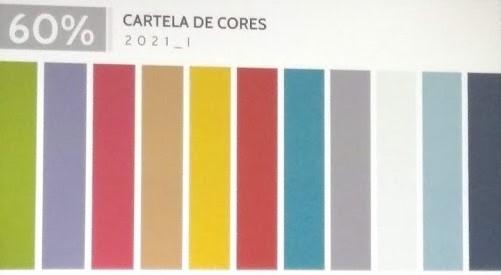 Cartela de cores para 60% de produtos da coleção, destinada a mercados mais populares. Fonte: Inspiramais
