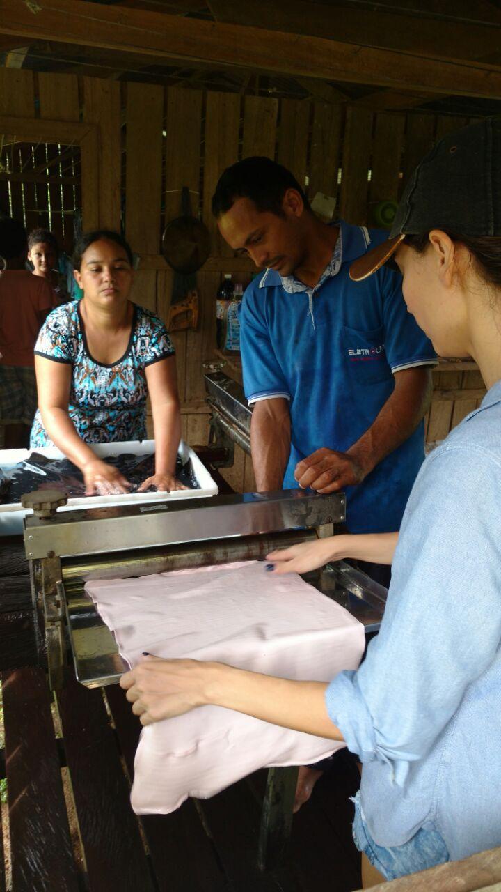 Processamento da borracha nativa Folha Semi Artefato no Acre, Amazônia. Moda sustentável na floresta amazônica. Fonte: Paimm