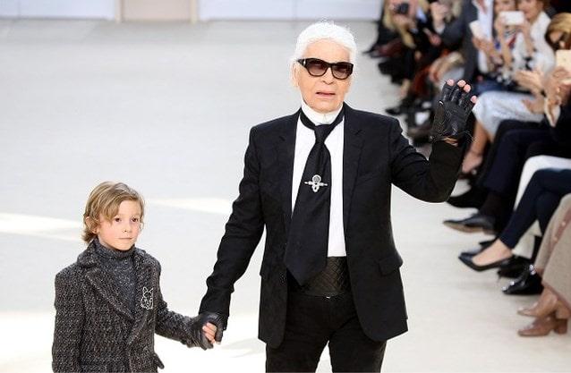 Karl Lagerfeld with his godson Hudson Kroenig. PHOTO: PHOTO NEWS